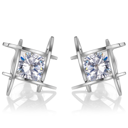 Fashion Unique Square Bright Zircon Crystal Ear Studs Brincos de liga para jóias Acessórios para mulheres