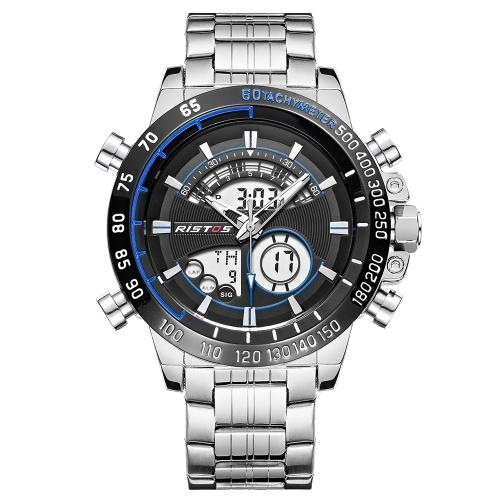 Reloj digital de cuarzo con pantalla dual RISTOS a prueba de agua para hombres EL Reloj militar de acero inoxidable con banda de reloj y alarma cronómetro Chime Week Display + Box