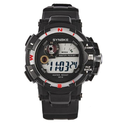 SYNOKE reloj deportivo digital 3ATM reloj resistente al agua reloj de pulsera con luz de fondo hombre cronógrafo