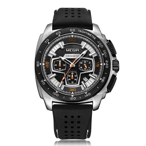 MEGIR Fashion Sport Silicone Men Relojes 3ATM Water-resistant Quartz Luminous Man Reloj cronógrafo Calendario