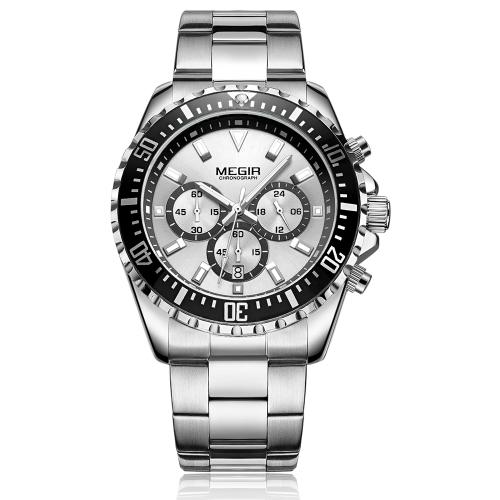 MEGIR Fashion Sport acero inoxidable hombre relojes 3ATM resistente al agua cuarzo luminoso hombre reloj cronógrafo calendario