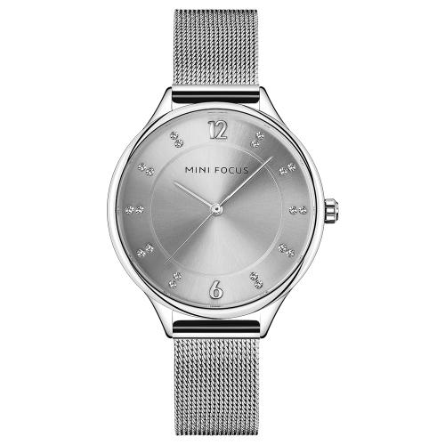 MINI FOCUS Relógios de luxo de luxo em aço inoxidável para mulheres