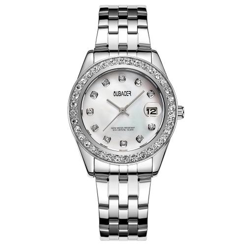 OUBAOER Мода роскошные часы из нержавеющей стали женские часы кварц 3ATM водонепроницаемый случайные женщины наручные часы календарь