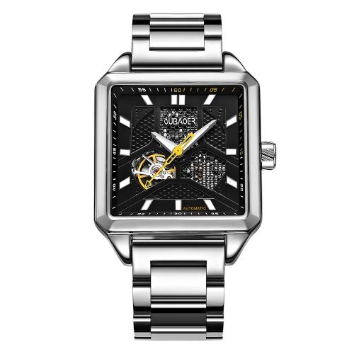 Relojes automáticos de lujo del negocio del acero inoxidable de OUBAOER Relojes luminosos mecánicos del hombre de 3ATM resistente al agua
