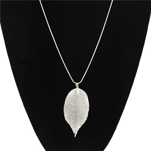 Forme la aleación natural de la hoja pendiente del collar de la cadena larga del suéter para las mujeres regalo de la joyería