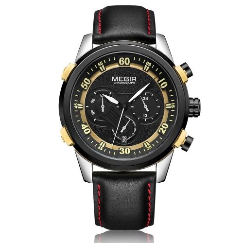 Reloj deportivo de cuero genuino MEGIR para hombre Reloj deportivo luminoso de cuarzo resistente al agua 3ATM Hombre Cronógrafo Relogio Musculino