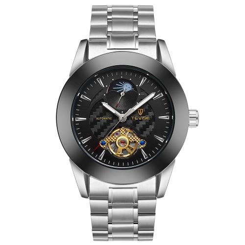 TEVISE Moda Hombres de Negocios Mecánicos de Acero Inoxidable Reloj Automático de Viento Automático 3ATM Resistente al Agua Lunimos Wirstwatch Hombre Relogio Musculino Fase Lunar