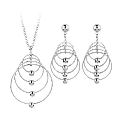 Moda esagerata rotonda cerchio collana orecchini placcato oro partito rock personalità gioielli set