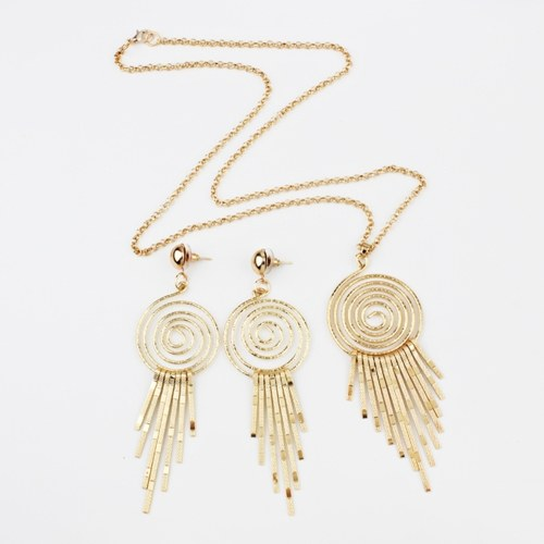 Fashion Exaggerated Swirl Gear Circle Spiral Earrings Necklace Personality Jewelry Set
