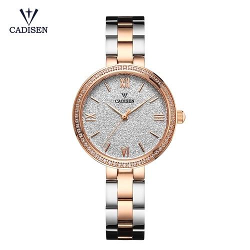 Cadisen Moda Mulheres Relógios De Quartzo De Luxo Em Aço Inoxidável Vestido Relógio de Pulso Simples Causal Presente para As Mulheres