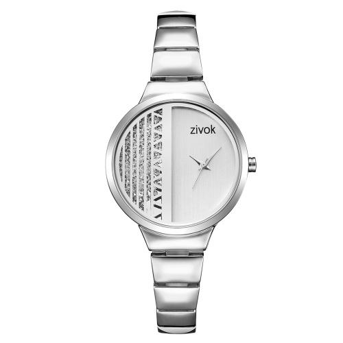 Orologio da polso al quarzo donna ZIVOK Bracciale moda geometrica dimezza quadrante legno quadrante orologio visualizzazione del tempo mondiale con confezione regalo