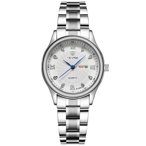 TEVISE 8122Q Frauen Uhr Quarz Edelstahlarmband Einfache Armbanduhr Leben Wasserdicht Kalender Mode Lässig Weibliche Uhren