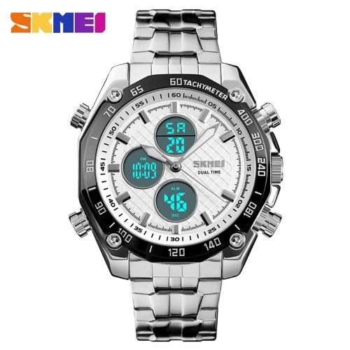 SKMEI 1302 Мужские кварцевые часы 2 хроно часы Секундомер Аналоговые цифровые наручные часы с дисплеем 3ATM Водонепроницаемые модные повседневные подсветки Многофункциональные часы
