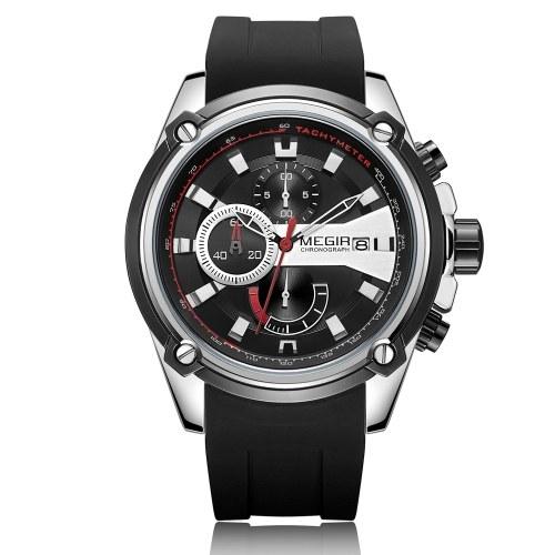 MEGIR 2086 Zegarek męski sportowy chronograf silikonowy pasek zegarek kwarcowy