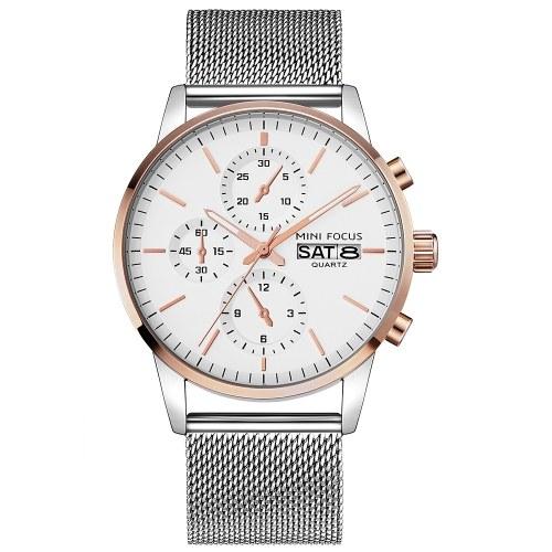 MINI FOCUS MF0180G Men Watch Quartz Stainless Steel Strap Simple Wristwatch Time Display Calendar Fashion Casual 3ATM Waterproof Luminous Hands Male Watches