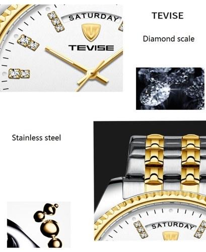 TEVISE T833A Homens De Negócios Relógio Mecânico Automático Calendário Tempo de Exibição Moda Casual Aço Inoxidável Strap 3ATM Luminosa À Prova D 'Água Mãos Masculino relógio de Pulso
