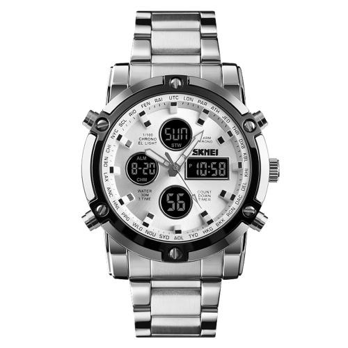 Vigilanza multifunzionale degli orologi elettronici dell'acciaio inossidabile degli uomini di affari del quadrante grande multifunzionale della vigilanza della vigilanza di modo grande Silvery + Silvery