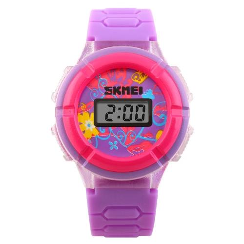 SKMEI originalidad fresco LED lindo colorido niños Digital reloj de pulsera con tiempo y fecha