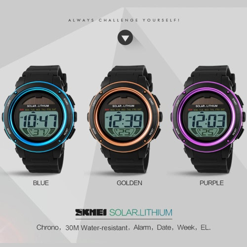 SKMEI Brand Solar Powered Digital Men Women Sports Military Watch 3ATM Water-resistant Unisex Wristwatch with Chronograph Backlight