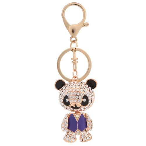 Lindo oso colgante llavero cristal Rhinestone coche llavero moda mujer amor joyería bolso bolso encanto regalo accesorios