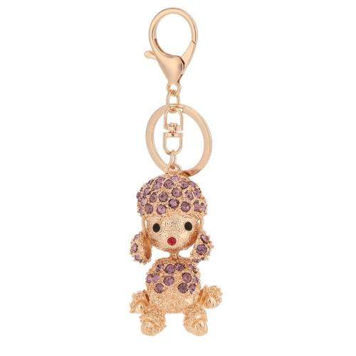 Linda moda Rhinestone cristal Poodle Lucky Animal perro colgante llavero 18K Gold Electroplated perrito llavero monedero bolso encanto accesorios regalo