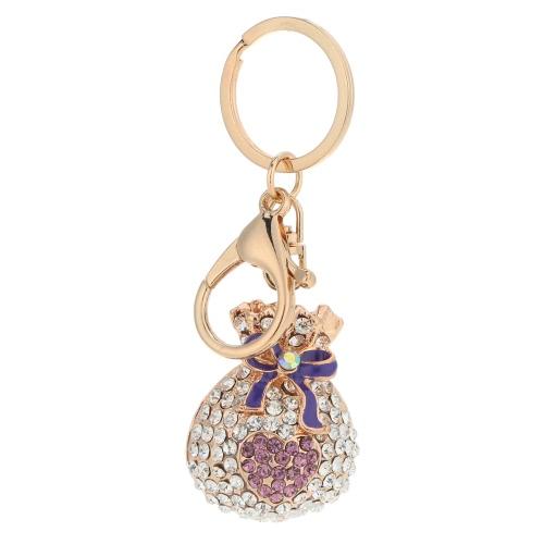 Moda Rhinestone de cristal hueco suerte bolsa corazón llavero cinc aleación 18K Gold Electroplated llavero monedero bolsa encanto amor accesorios regalo