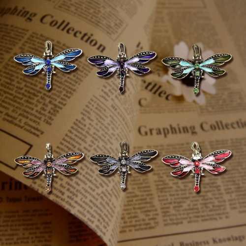Neue Mode Frauen Mädchen Jahrgang Bronze galvanisiert Libelle Anhänger Kette Collier Antik Strass Schmuck Zubehör schönes Geschenk