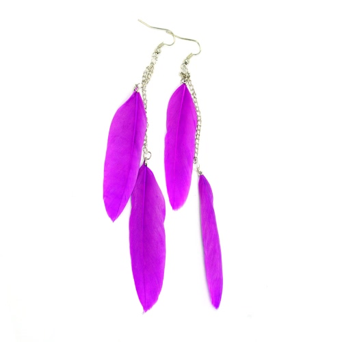 New Fashion Long Feather Chain Cute Drop Dangle Chandelier Earring Eardrop Party Jewelry Accessory Gift