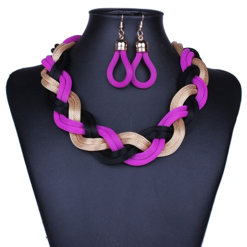 Fashion Exaggerated Personality Bohemia Hemp Flower Necklace Bib Collar Chunky Chain with Earrings Jewelry Set Accessory for Women Girls
