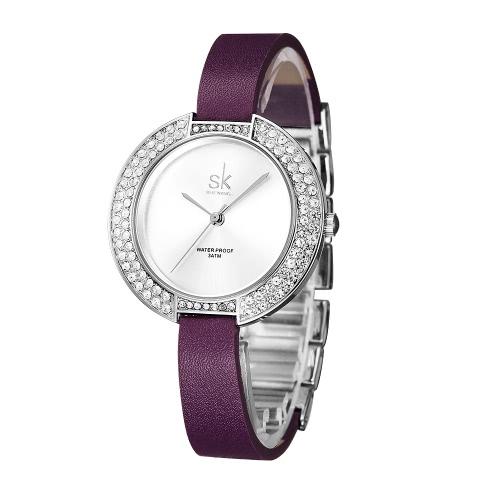 Damas SK 2017 de moda del diamante de lujo del cuarzo relojes de las mujeres 3 ATM resistente al agua Casual reloj de pulsera de la PU + correa de acero de las mujeres del reloj de pulsera