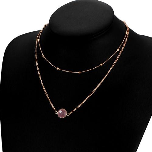 Elegante cadena de múltiples capas de cristal natural colgante gargantilla de aleación de oro casual corto Clavícula Collares Mujer Única joyas