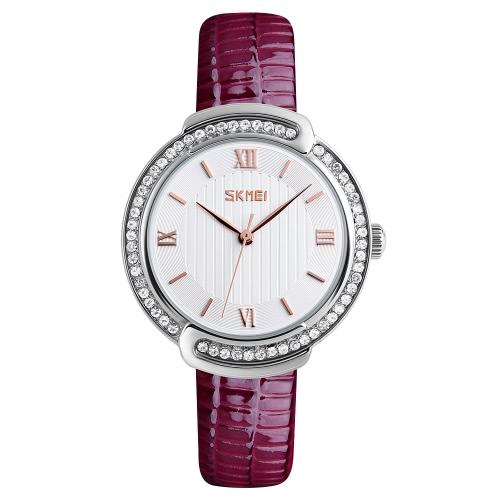 SKMEI 3ATM Resistente al agua reloj de cuarzo Moda casual de las mujeres relojes Reloj de pulsera de cuero genuino Mujer Relogio Feminino