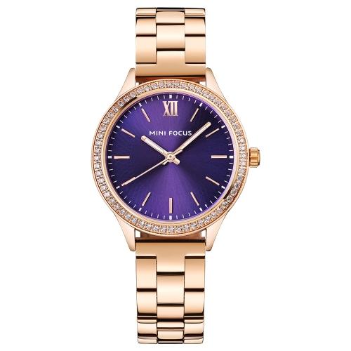 MINI FOCUS moda lujo acero inoxidable mujer relojes cuarzo 3ATM resistente al agua luminoso mujer casual reloj de pulsera