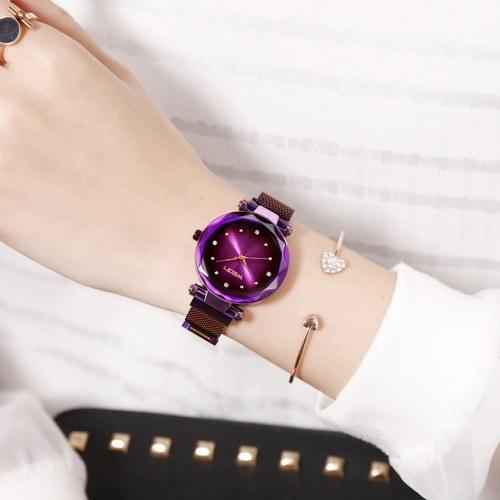 Orologio da polso al quarzo con cinturino in lega leggera semplice da donna