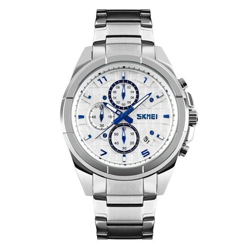 SKMEI profesional resistente al agua 3ATM del reloj análogo de los hombres de negocios con 3 sub-dial durable de acero inoxidable correa de reloj de pulsera