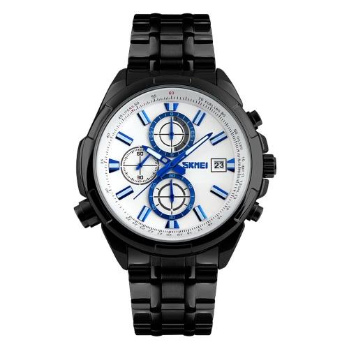 SKMEI 3ATM Wodoodporny Analog Men Business Watch z 3 Sub-pokrętło Trwała stali nierdzewnej watchband Good Looking Wrist Watch