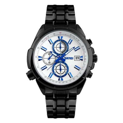 SKMEI 3ATM Wasserdicht Analog Men Business Watch mit 3 Sub Wahl langlebigem Edelstahl Armband gut aussehende Armbanduhr