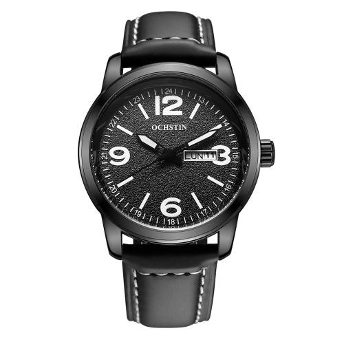 OCHSTIN couro genuíno Correia à moda relógio de quartzo Excelente 3ATM resistente à água Man Relógio de pulso com calendário e Semana