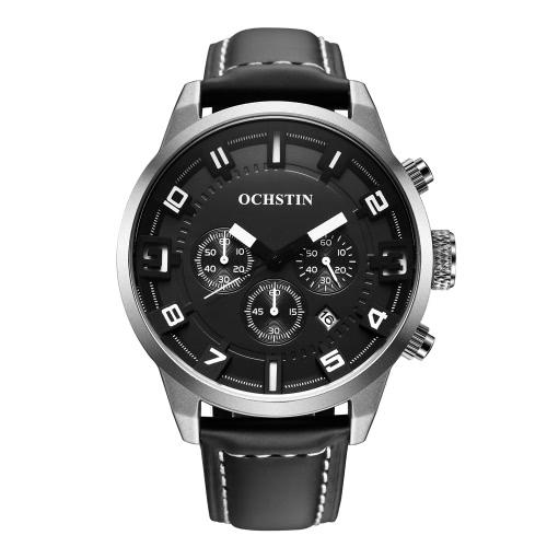 OCHSTIN 3 ATM resistente al agua de los hombres del cuero genuino de la correa de reloj de cuarzo analógico reloj de pulsera hombre excelente con el calendario