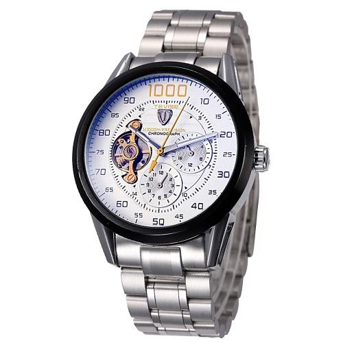 TEVISE excelente hombres automática esqueleto reloj mecánico 3ATM luminoso negocio resistente al agua los hombres reloj de pulsera con 2 diales