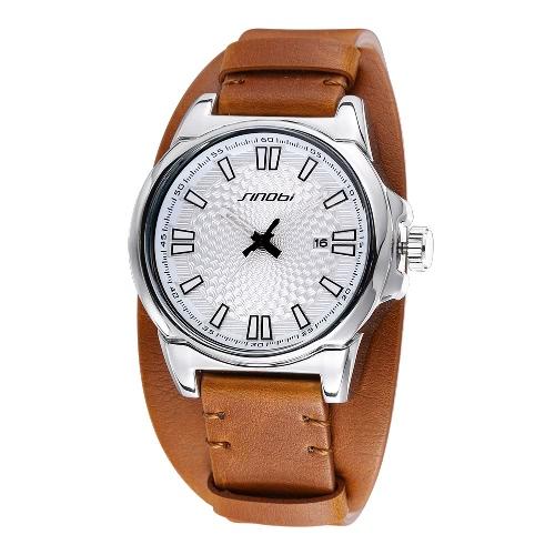 SINOBI elegante los hombres reloj de pulsera esfera Simple resistente al agua PU suave cuero reloj de cuarzo con calendario