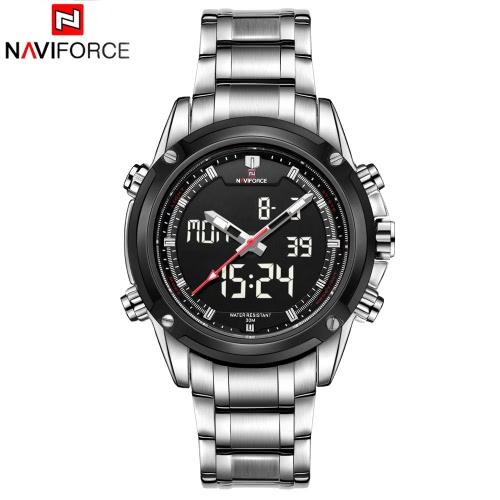 NAVIFORCE Luxury Brand Digital-Analog Sports Military 3ATM Waterproof Luminous Men Quartz Watch