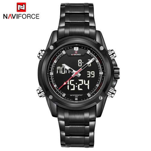 NAVIFORCE 高級ブランド デジタル アナログ スポーツ軍事時計 3 気圧防水防水明るい男性水晶腕時計