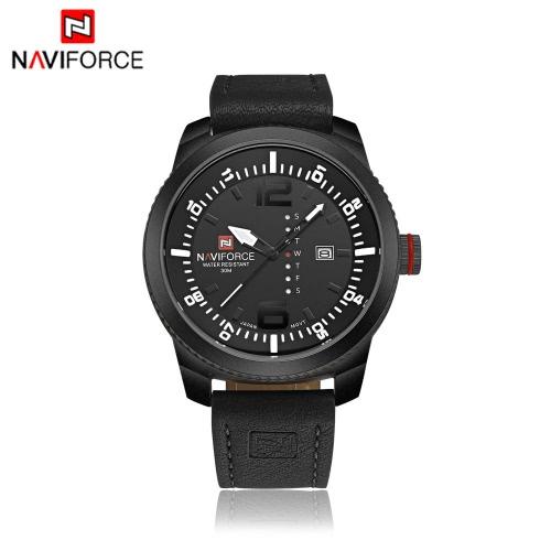 NAVIFORCE lujo clásico cuarzo analógico reloj 3ATM resistente al agua de alta calidad PU cómoda correa Casual hombre reloj de pulsera con pantalla de fecha y semanas