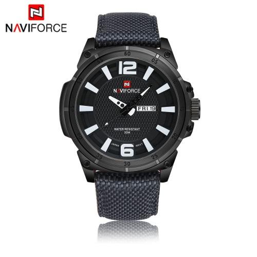 NAVIFORCE moda cuarzo analógico reloj 3ATM resistente al agua de buena calidad Nylon único reloj Casual hombre reloj de pulsera con pantalla de fecha y semanas