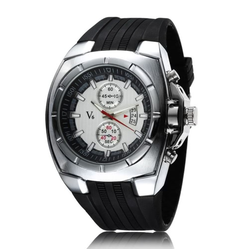 V6 Brand Luxury Fashion Men Casual Wristwatch Analog Sports Style Man's Quartz Watch with Date 2 Sub-dial