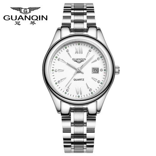 GUANQIN 2016 Fashion Damen Luxus Quarz Uhren Stahlband wasserdichte leuchtende ultradünne Armbanduhr für Lady