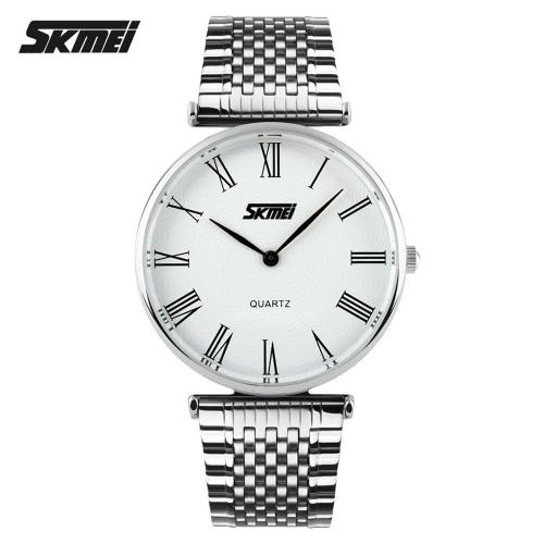 SKMEI 2016 nueva hombres negocio cuarzo reloj banda de acero moda estilo Herswatches impermeable relojes Casual de lujo señora fina relojes de pulsera