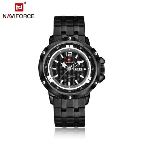 NAVIFORCE relógio de relógio de quartzo relógio de aço inoxidável casual