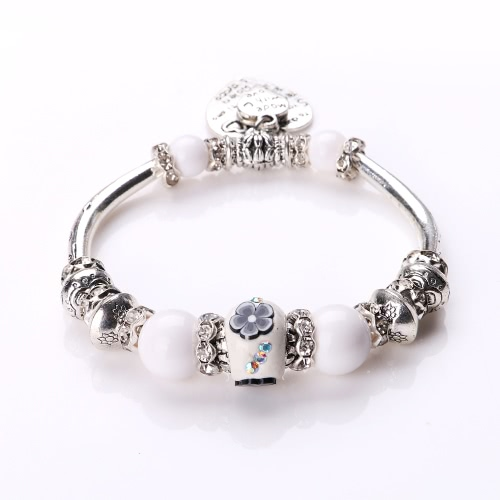 Fashion Unique Vintage Retro Woman Girl Silver Plated Metal Zinc Alloy Bracelet Bangle Beads Strand Charm Fine Jewelry for Gift Party